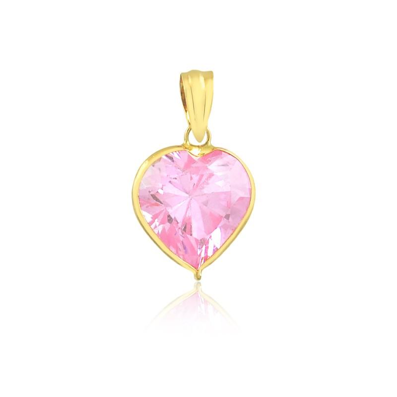 Pingente de Ouro Coração Rosa em Zircônia 7mm Ouro 18k