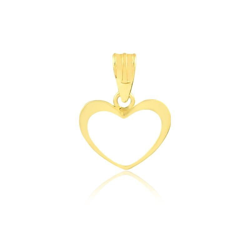 Pingente de Ouro Coração Vazado Delicado Ouro 18k