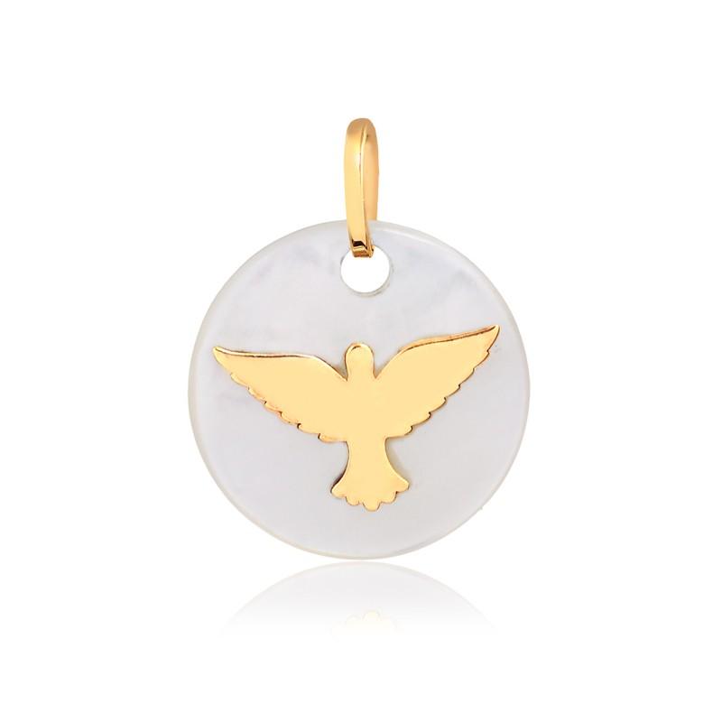 Pingente de Ouro Espírito Santo na Madre Pérola P Ouro 18k