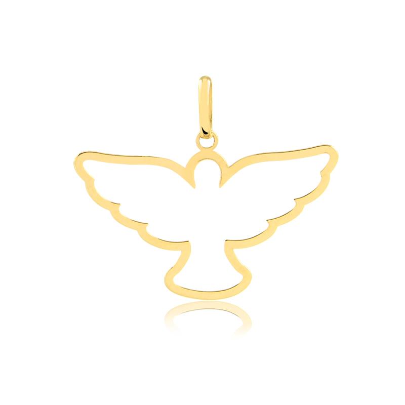Pingente de Ouro Espírito Santo Pingente Cristão Ouro 18k
