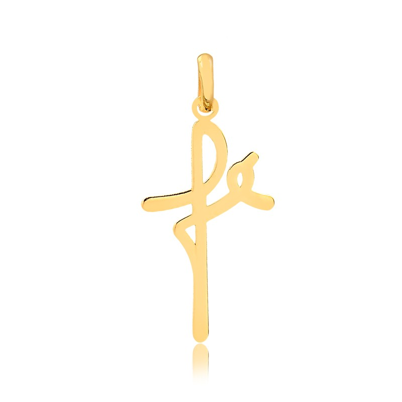Pingente de Ouro Fé Formato de Cruz em Ouro 18k