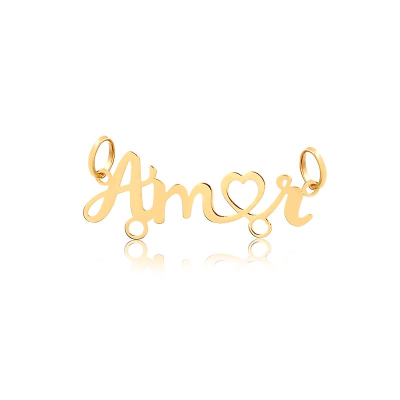 Pingente de Ouro Feminino Amor 2 Argolas Pingente Canga
