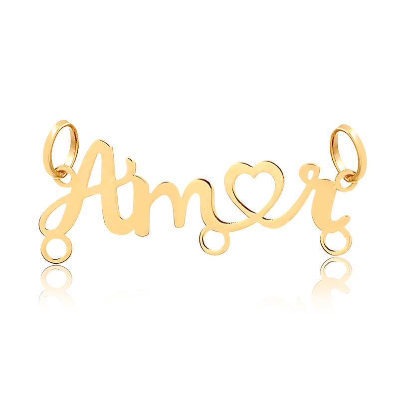 Pingente de Ouro Feminino Amor 3 Argolas Pingente Canga