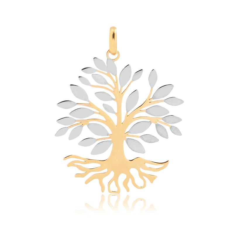 Pingente de Ouro Feminino Árvore da Vida Ouro Branco 18k