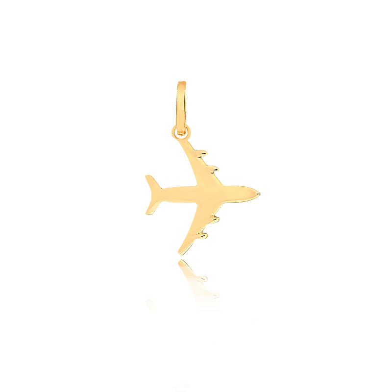 Pingente De Ouro Feminino Avião Ouro 18k