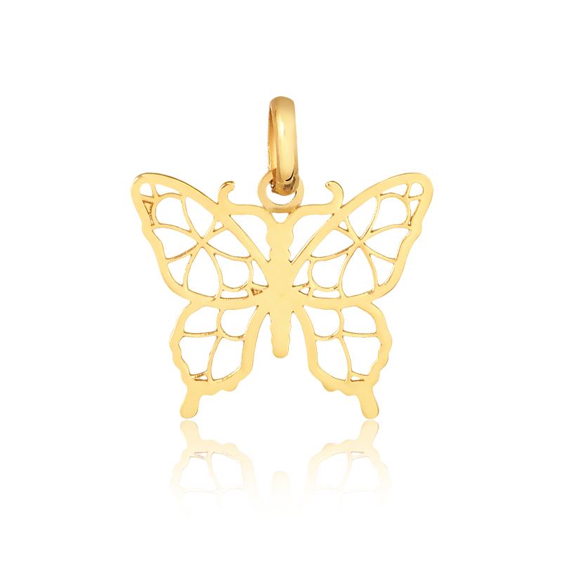 Pingente de Ouro Feminino Borboleta em Ouro 18k
