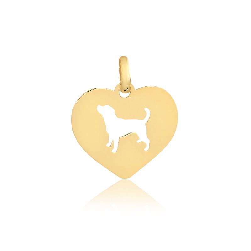 Pingente de Ouro Feminino Cachorro no Coração Dog Ouro 18k