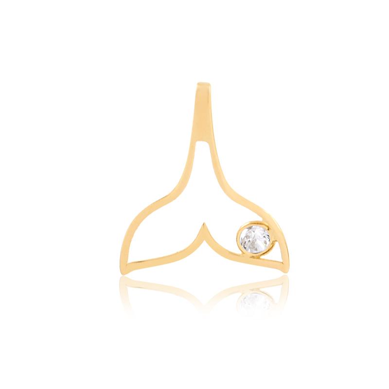 Pingente de Ouro Feminino Cauda de Sereia com Zircônia 18k