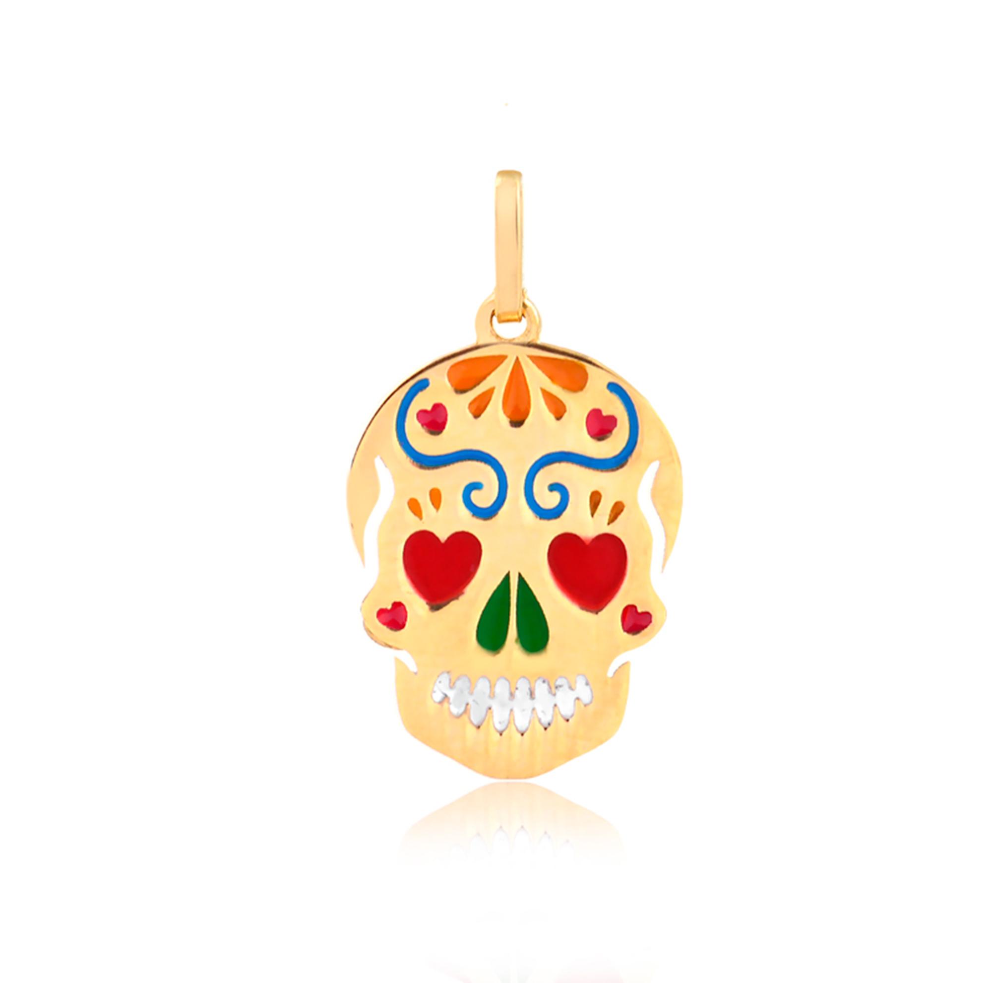 Pingente de Ouro Feminino Caveira Mexicana Esmaltada 18k