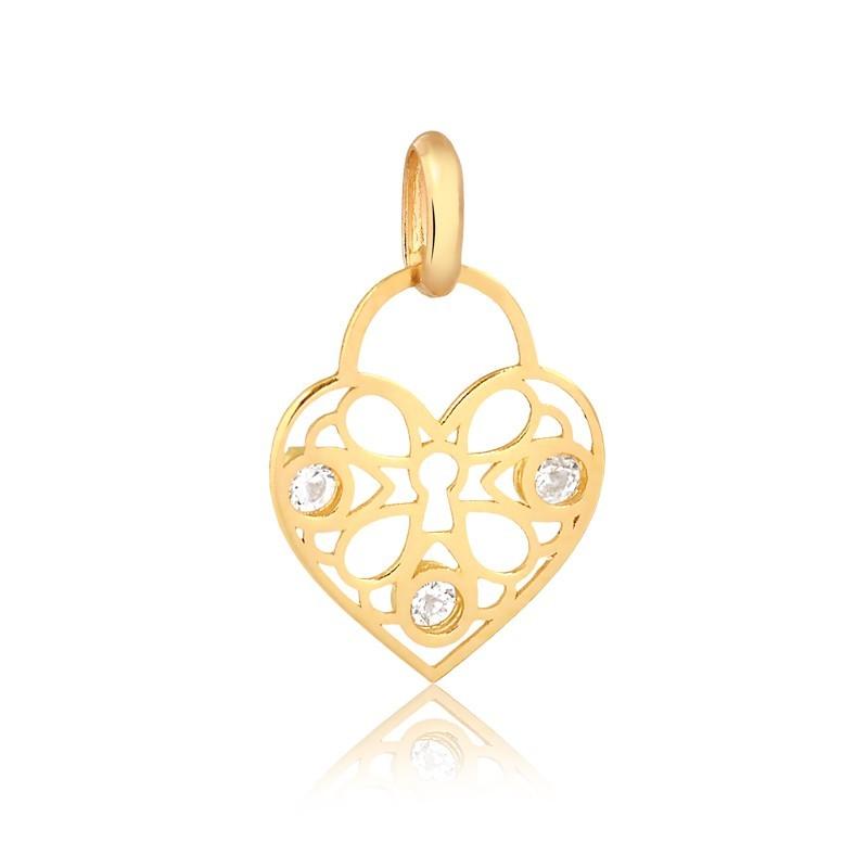 Pingente de Ouro Feminino Coração Cadeado Zircônias Ouro 18k