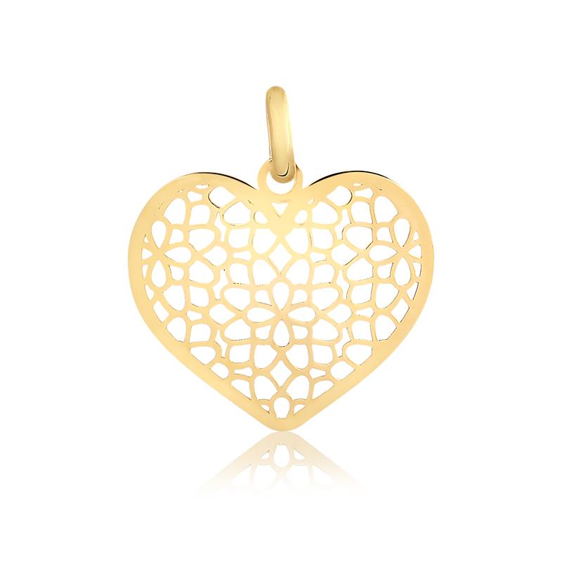 Pingente de Ouro Feminino Coração Detalhado em Ouro 18k