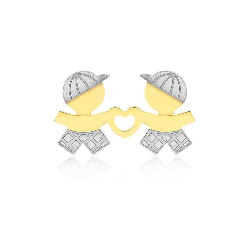Pingente de Ouro Feminino Coração Dois Meninos Ouro 18k