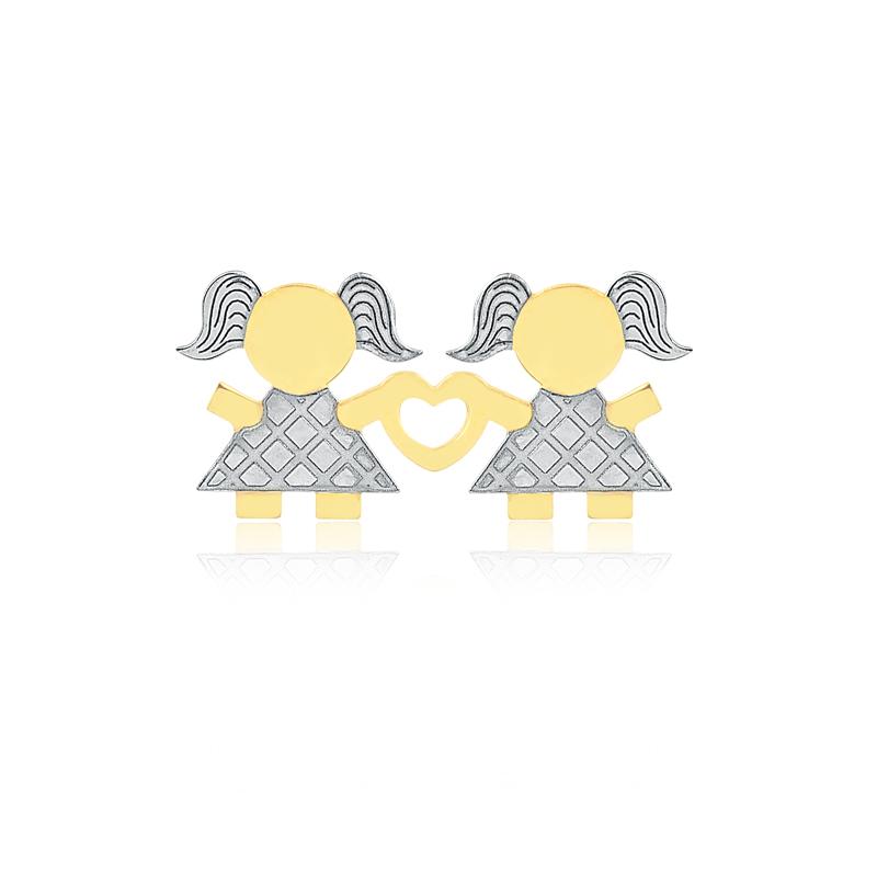 Pingente de Ouro Feminino Coração Duas Meninas Ouro 18k