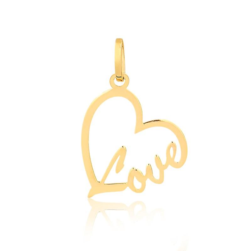 Pingente de Ouro Feminino Coração Love Escrita Ouro 18k