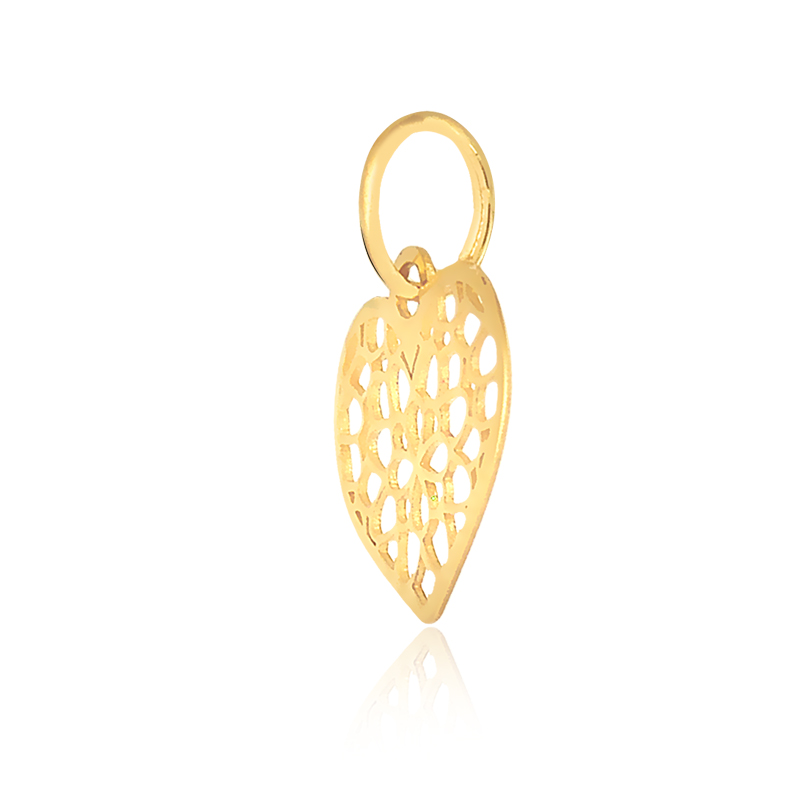 Pingente de Ouro Feminino Coração Recortes em Ouro 18k