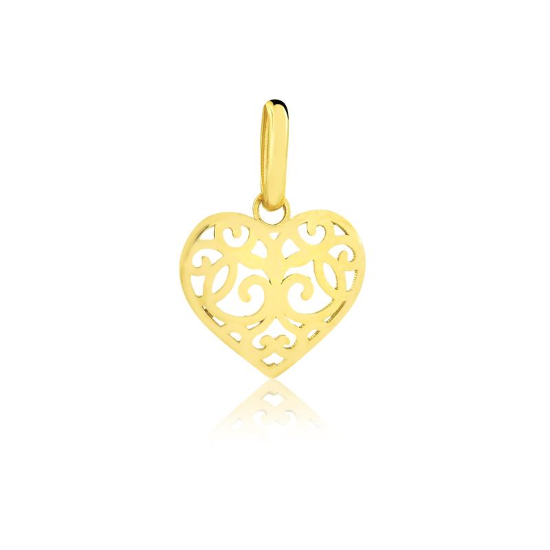 Pingente de Ouro Feminino Coração Voltas em Ouro 18k