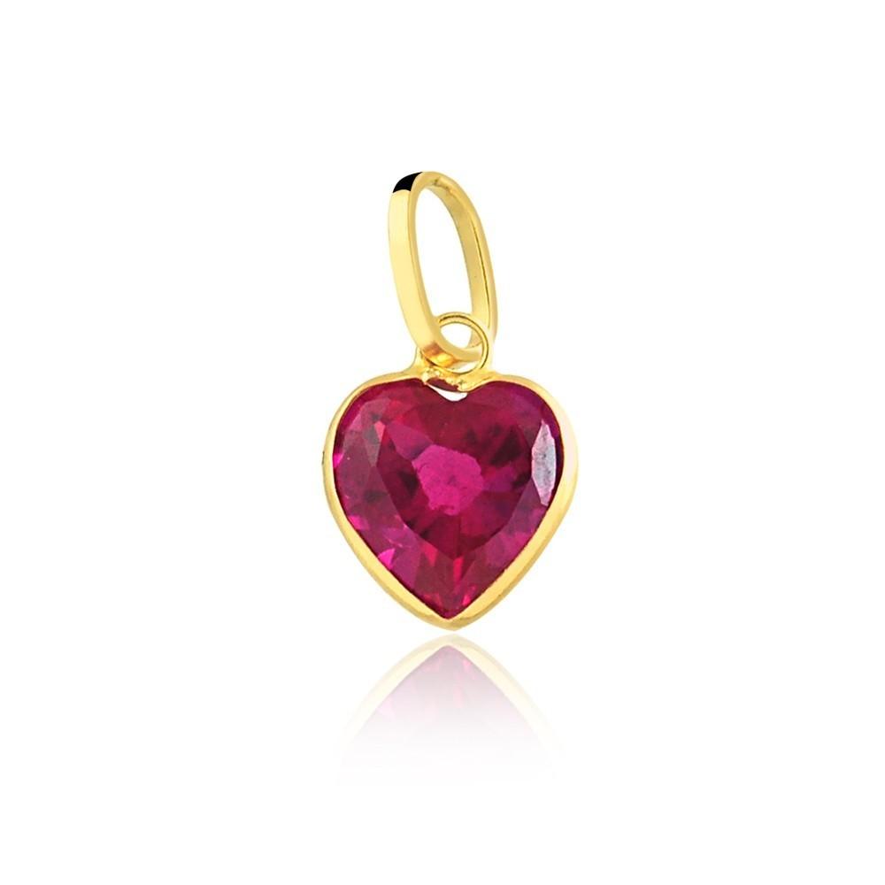 Pingente de Ouro Feminino Coração Zircônia Vermelha Ouro 18k