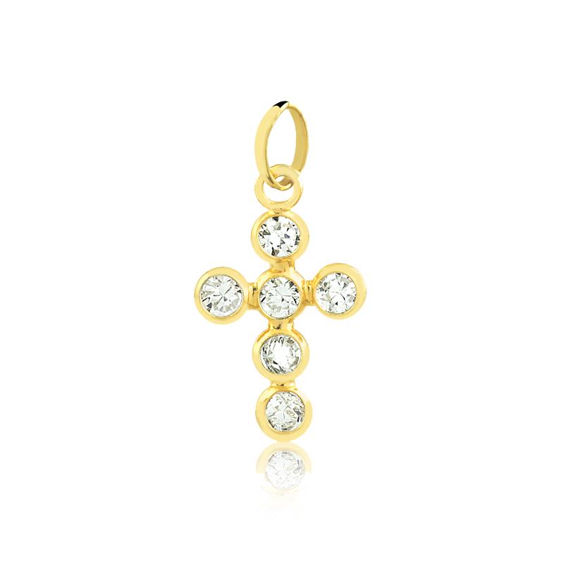 Pingente de Ouro Feminino Cruz de Zircônias em Ouro 18k
