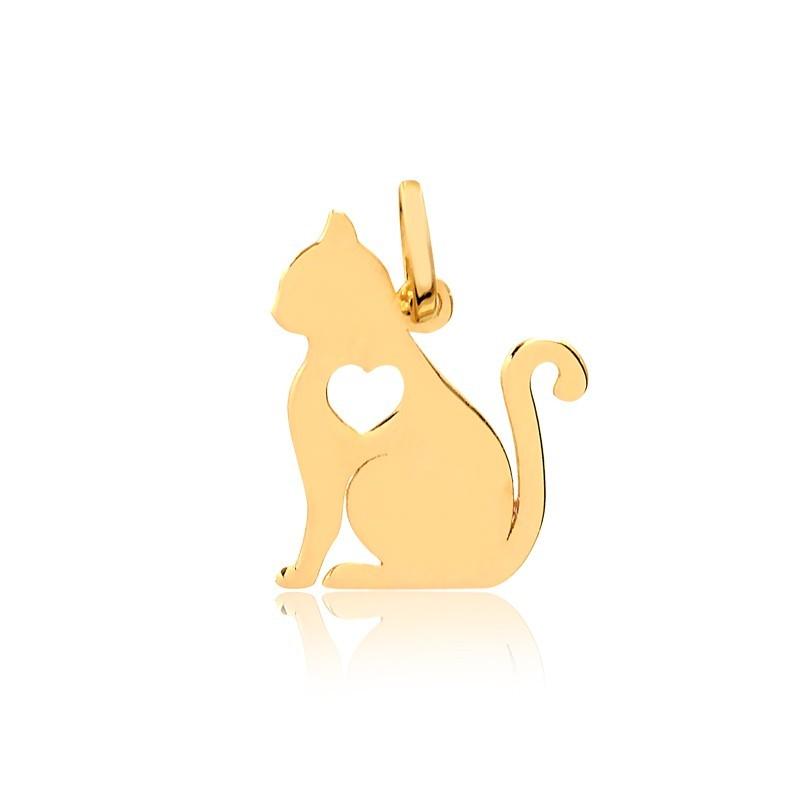 Pingente de Ouro Feminino Gato com Coração Ouro 18k