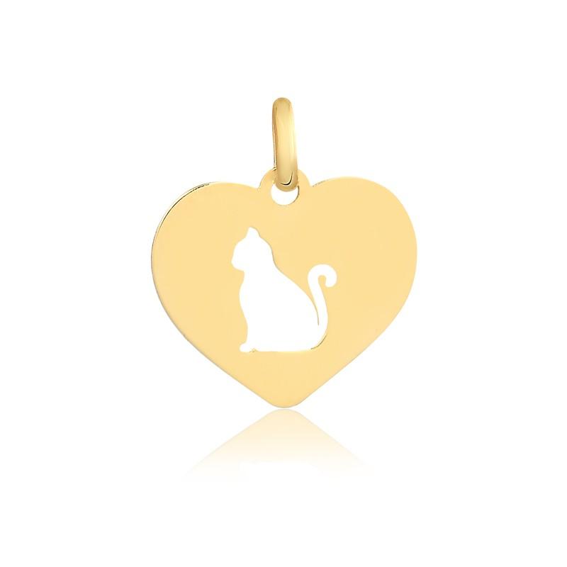 Pingente de Ouro Feminino Gato no Coração Gatinho Ouro 18k