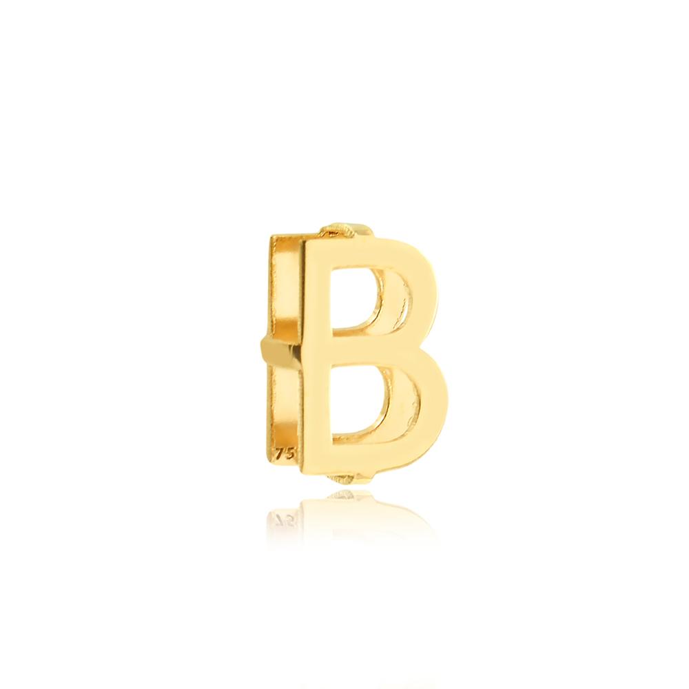 Pingente de Ouro Feminino Letra B Presente Ouro 18k