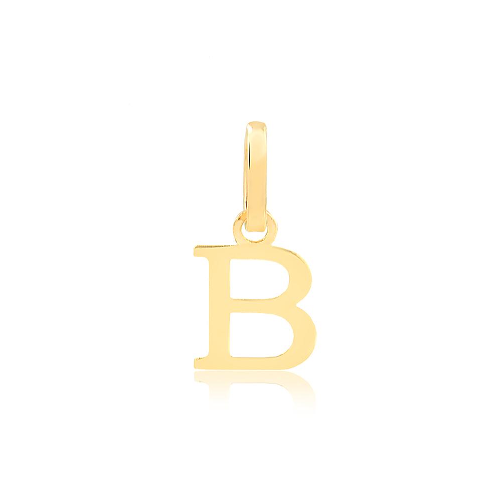 Pingente de Ouro Feminino Letra B Presente Ouro em 18k