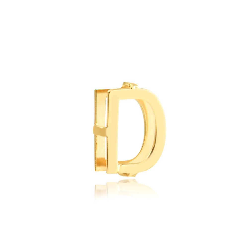 Pingente de Ouro Feminino Letra D Presente Ouro 18k