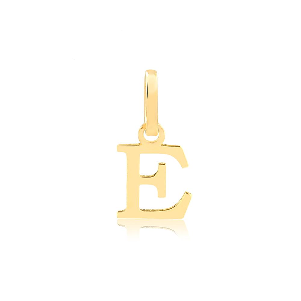 Pingente de Ouro Feminino Letra E Presente em Ouro 18k