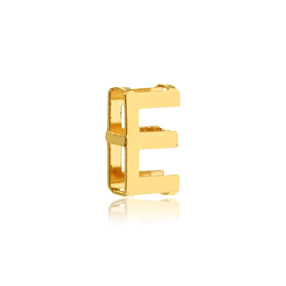 Pingente de Ouro Feminino Letra E Presente Ouro 18k