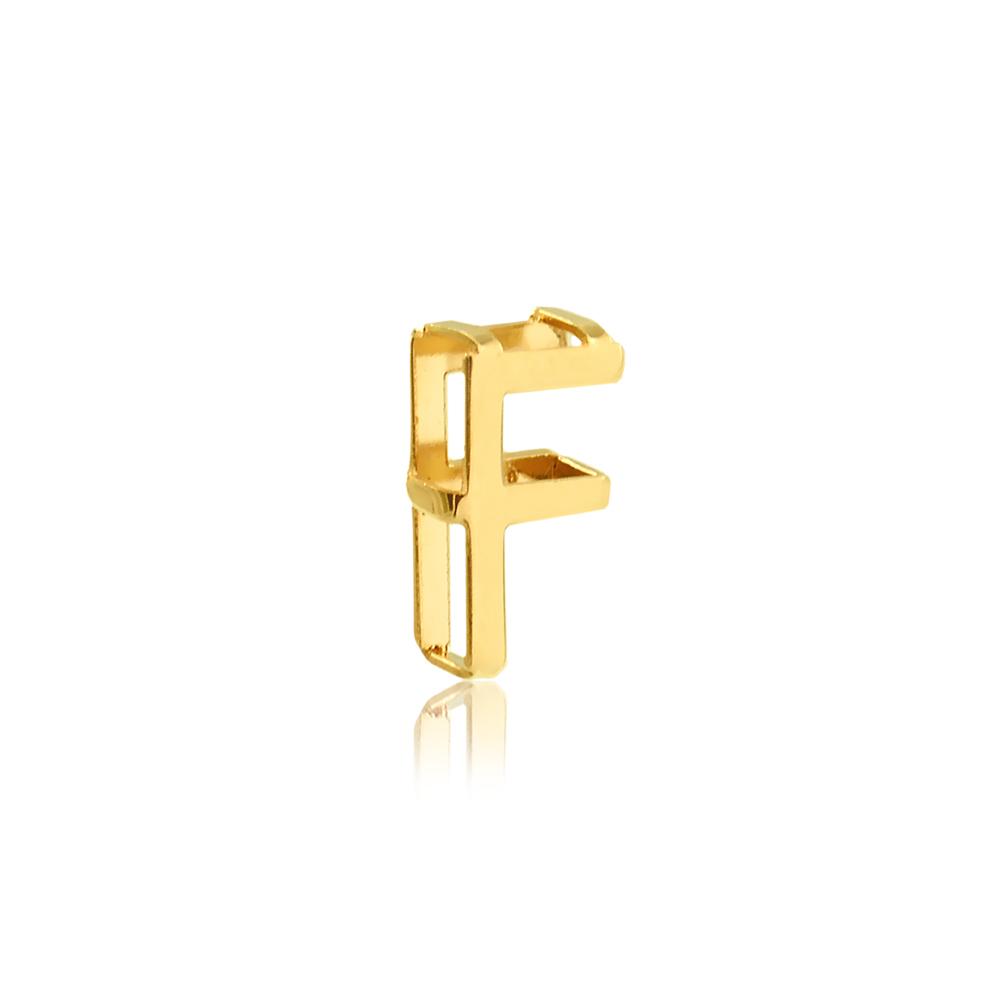 Pingente de Ouro Feminino Letra F Presente Ouro 18k