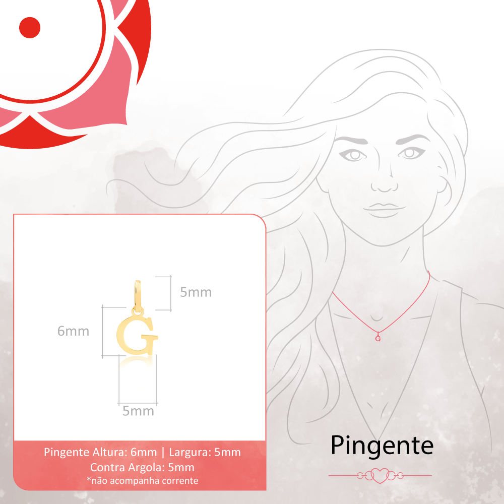 Pingente de Ouro Feminino Letra G Presente em Ouro 18k