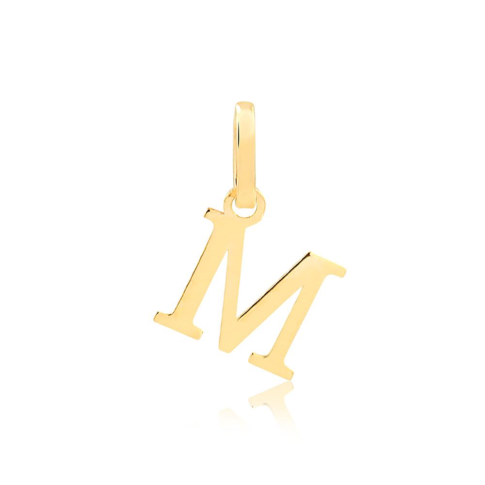 Pingente de Ouro Feminino Letra M Presente em Ouro 18k