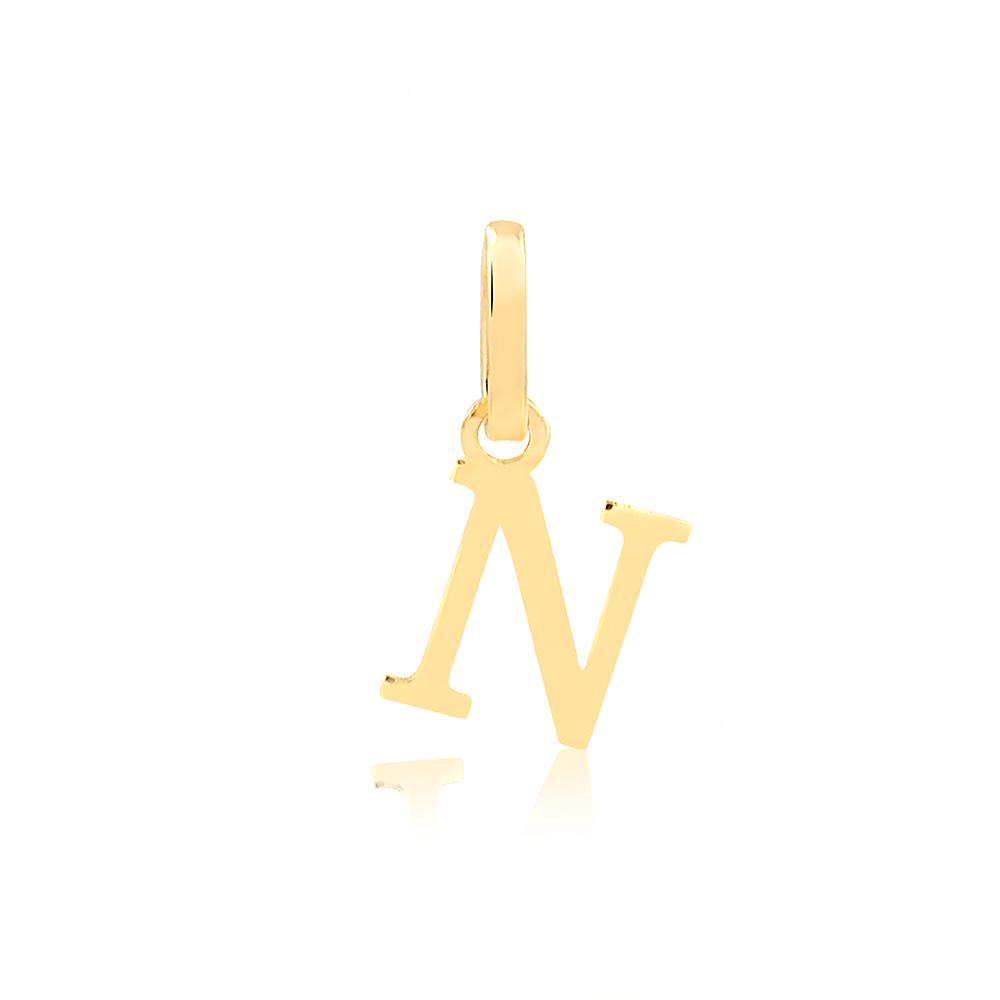 Pingente de Ouro Feminino Letra N Presente em Ouro 18k