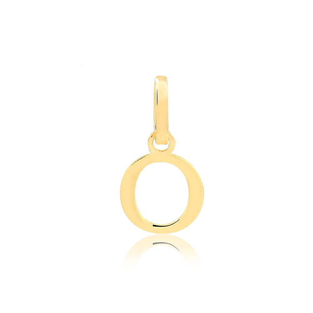 Pingente de Ouro Feminino Letra O Presente em Ouro 18k