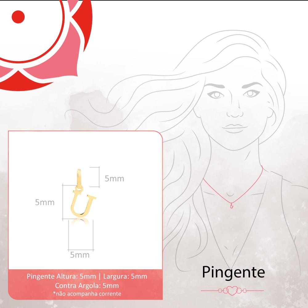 Pingente de Ouro Feminino Letra U Presente em Ouro 18k