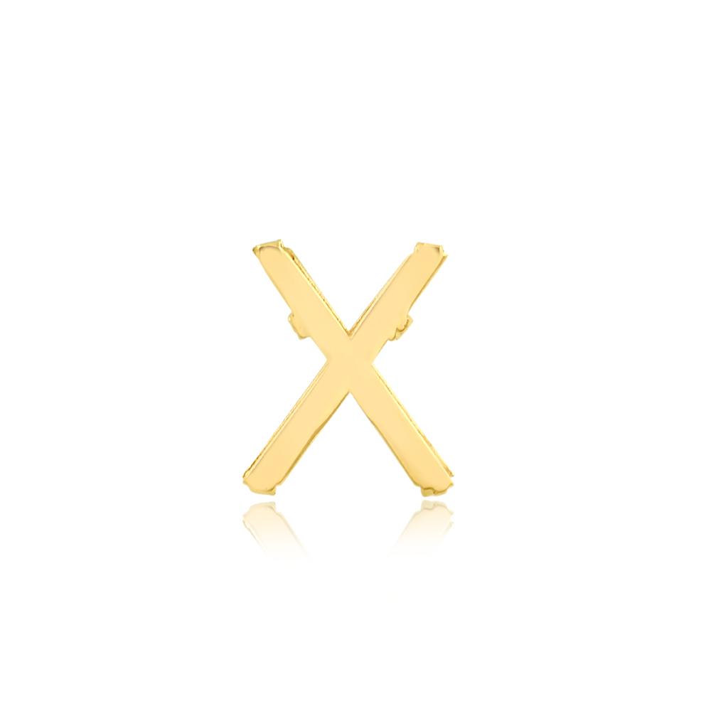 Pingente de Ouro Feminino Letra X Presente Ouro 18k