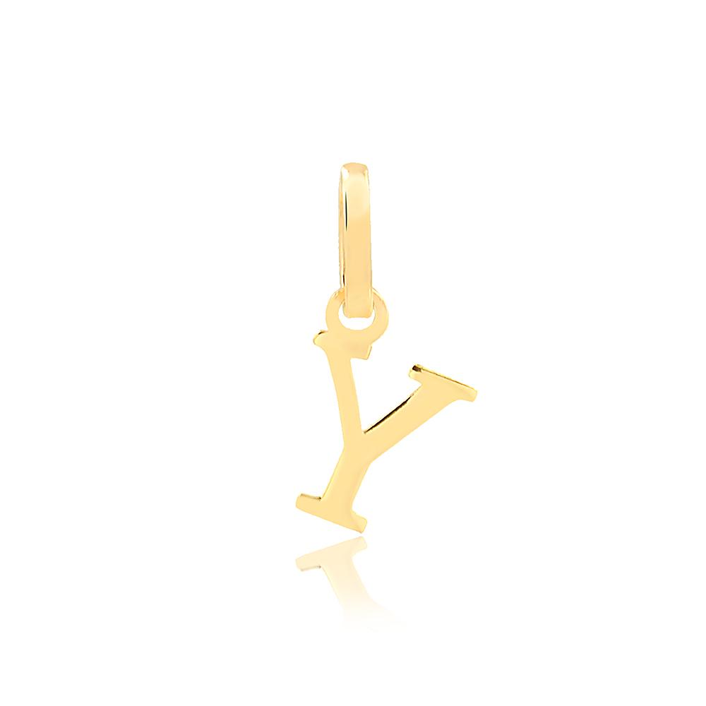 Pingente de Ouro Feminino Letra Y Presente em Ouro 18k