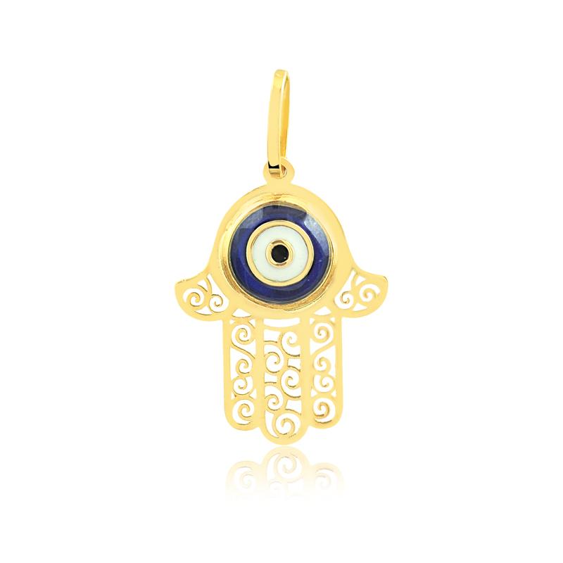 Pingente de Ouro Feminino Mão de Fátima Olho Grego Ouro 18k