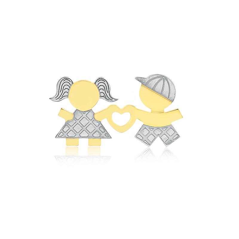 Pingente de Ouro Feminino Menino Menina Coração Ouro Branco
