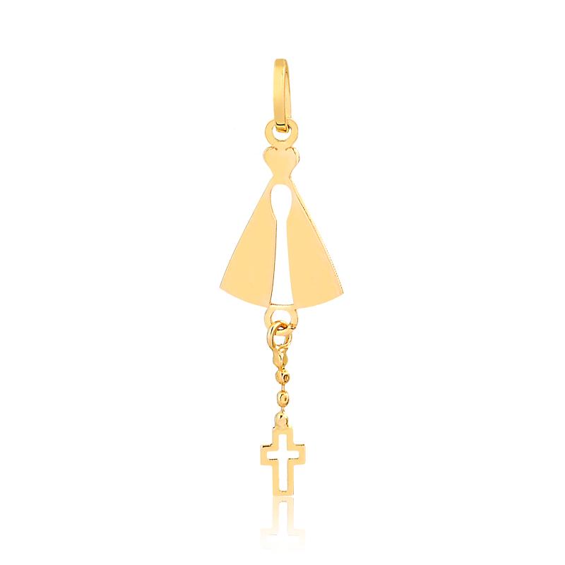 Pingente de Ouro Feminino Nossa Senhora e Cruz no Ouro 18k