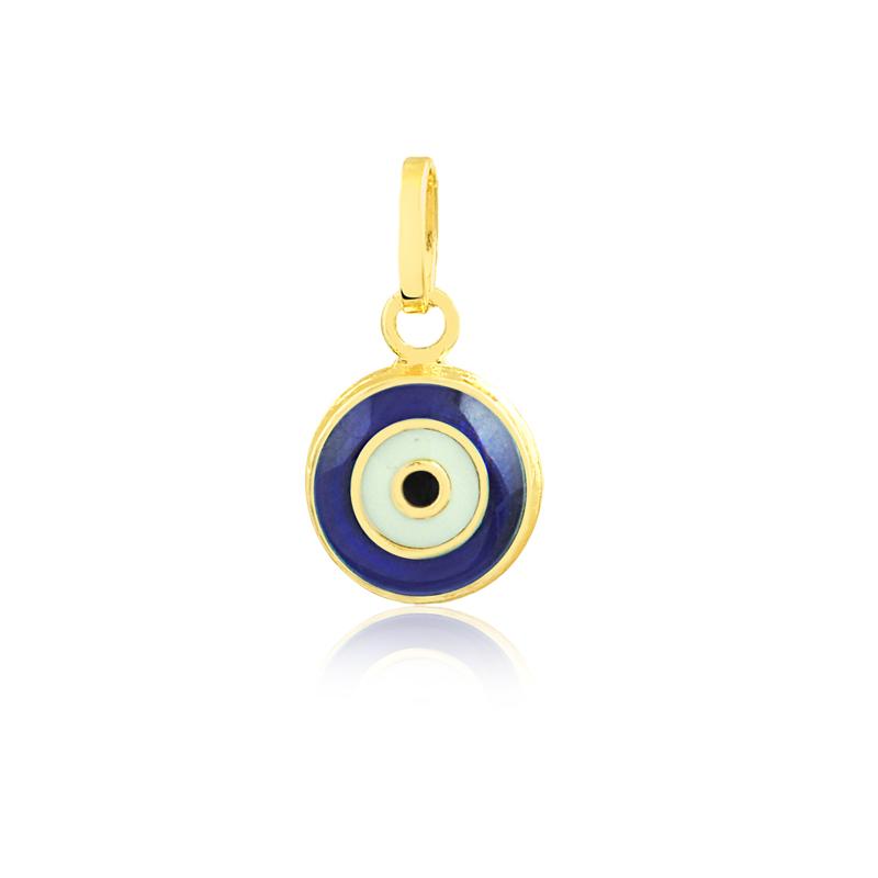 Pingente de Ouro Feminino Olho Grego Esmaltado no Ouro 18k