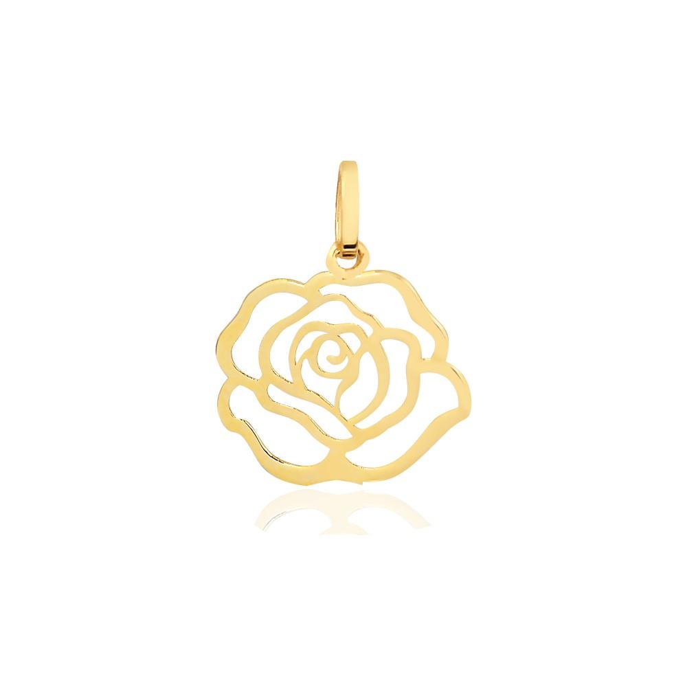 Pingente de Ouro Feminino Rosa em Ouro 18k