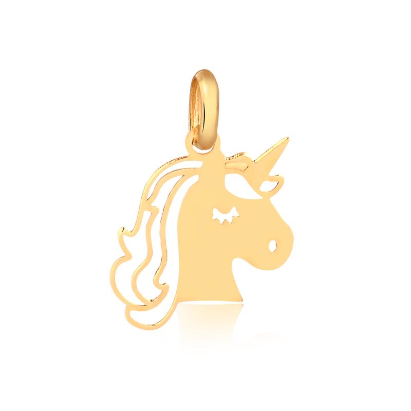 Pingente de Ouro Feminino Unicórnio em Ouro 18k