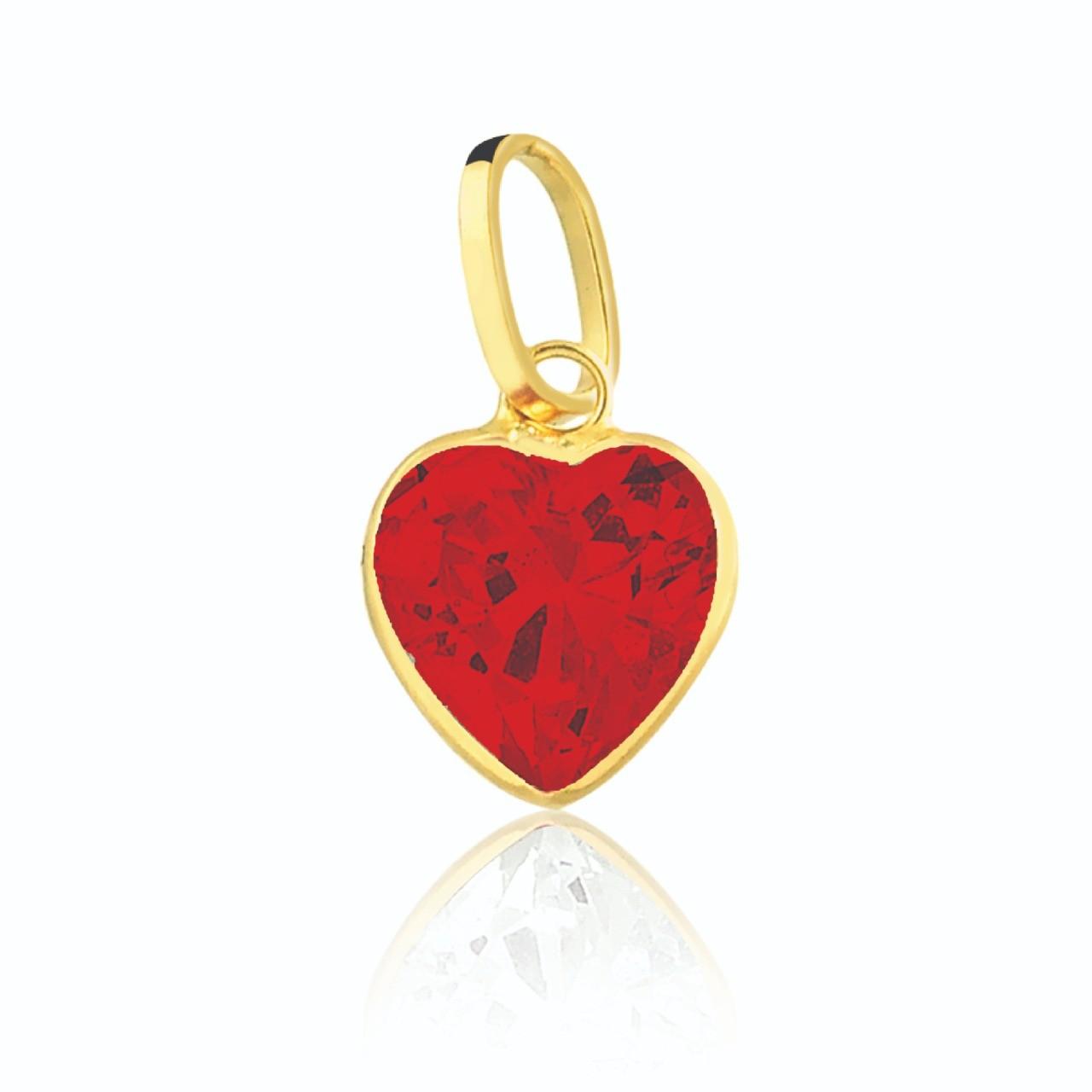 Pingente de Ouro Feminino Zircônia Coração Vermelho Ouro 18k
