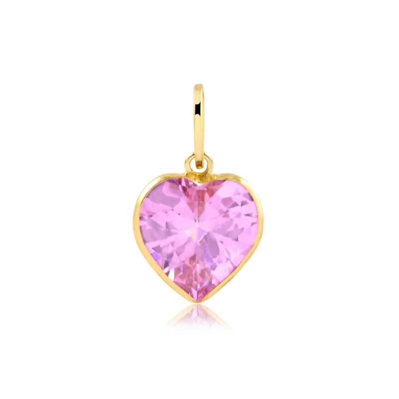 Pingente de Ouro Feminino Zircônia Rosa Coração com Ouro 18k