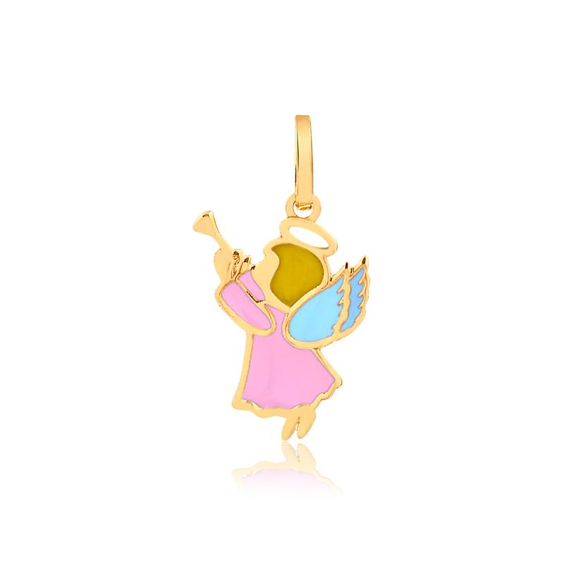 Pingente de Ouro Infantil Anjo Anjinho Esmaltado Ouro 18k