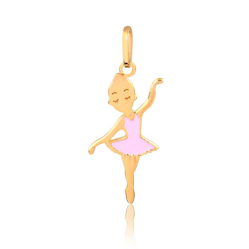 Pingente de Ouro Infantil Bailarina Rosa Esmaltada Ouro 18k