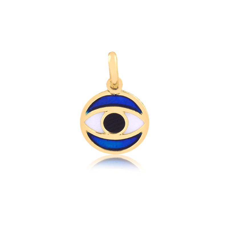Pingente de Ouro Olho Grego Patuá Amuleto da Sorte Esmaltado Ouro 18k