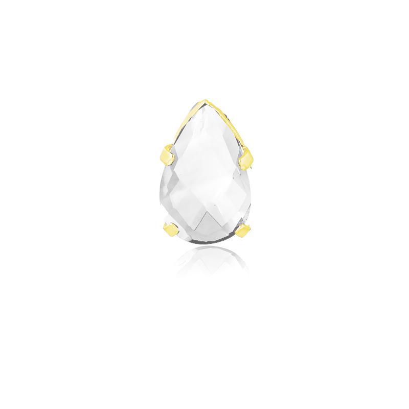 Pingente de Ouro Pedra Natural Cristal Gota 6,9 mm em Ouro 18k