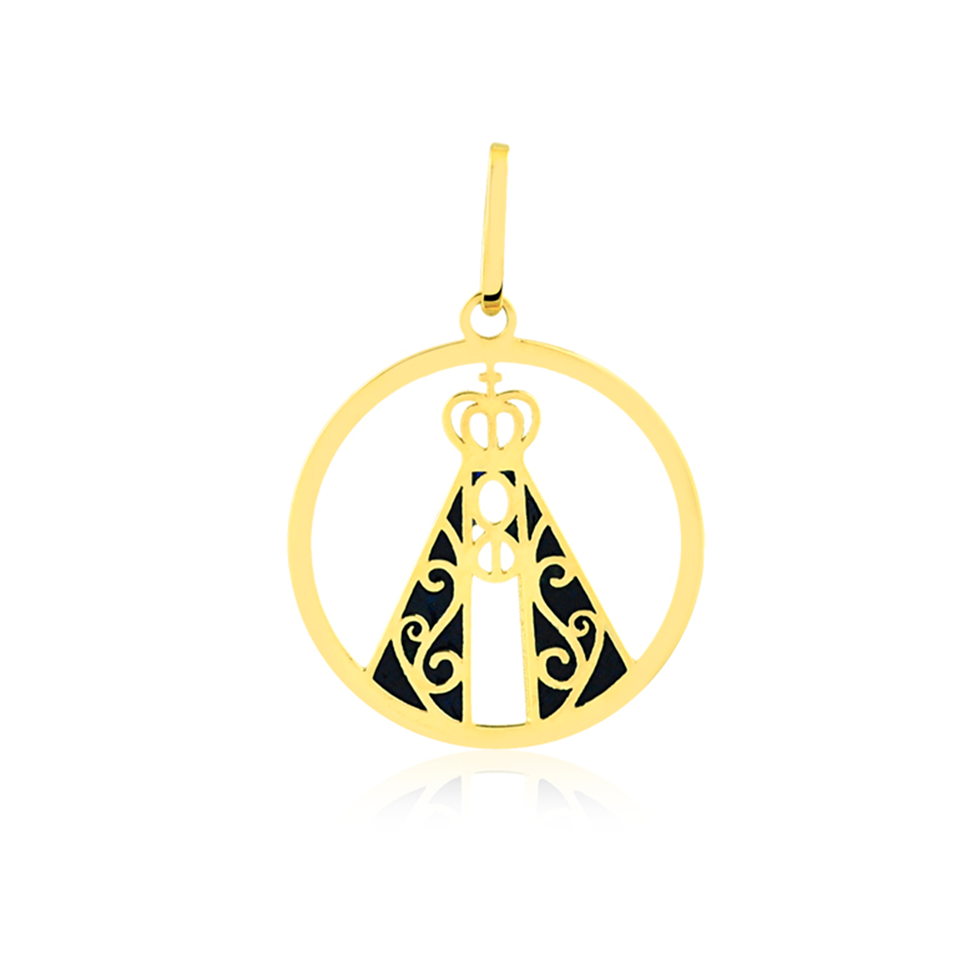 Pingente de Ouro Religioso Nossa Senhora Vazada Manto Esmaltado Ouro 18k